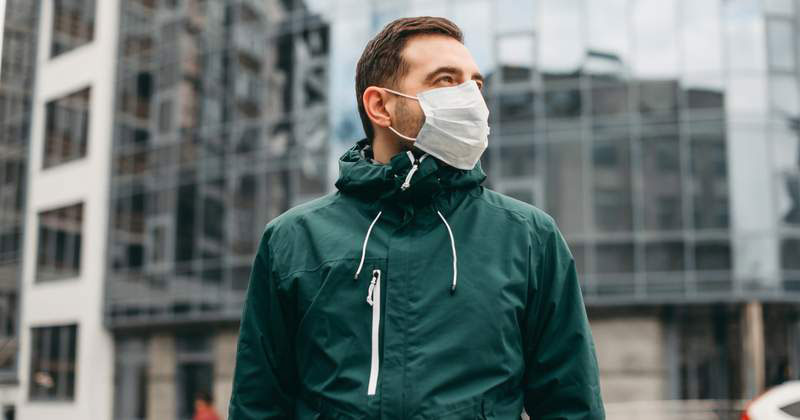Man wearing a mask during covid-19 pandemic