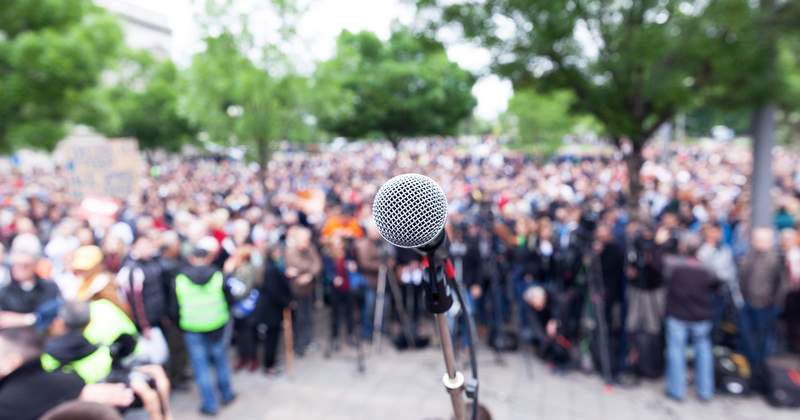 microphone at a protest