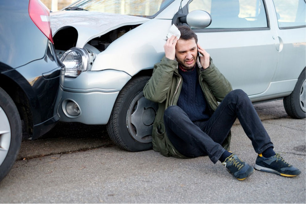 man sitting after a personal injury